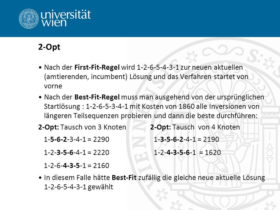 2-Opt Nach der First-Fit-Regel wird 1-2-6-5-4-3-1 zur neuen aktuellen (amtierenden, incumbent) Lösung und das Verfahren startet von vorne.