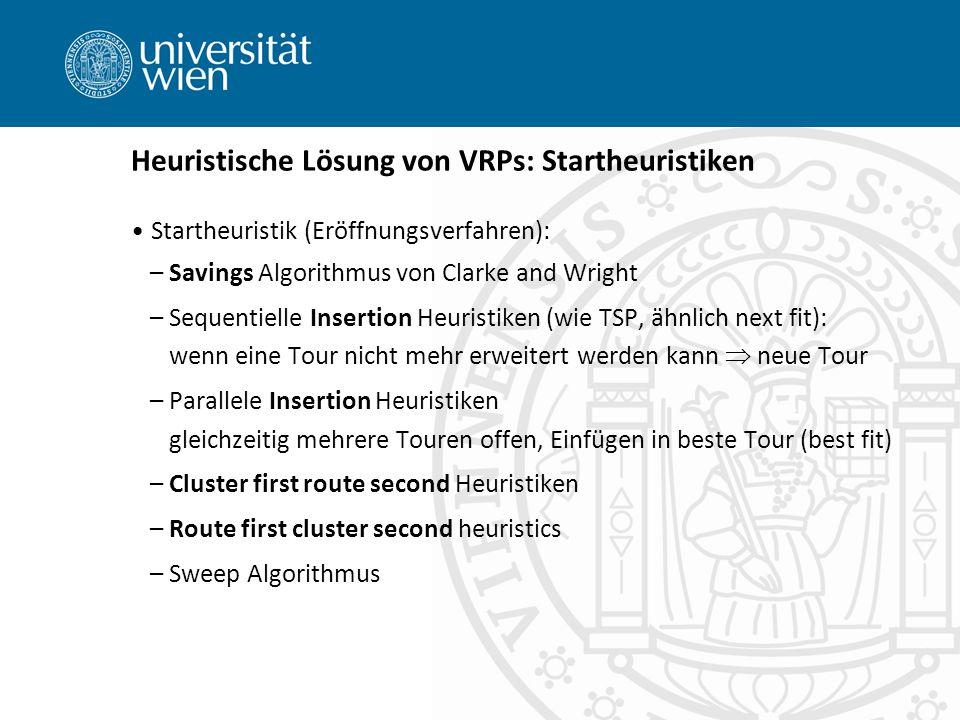 Heuristische Lösung von VRPs: Startheuristiken
