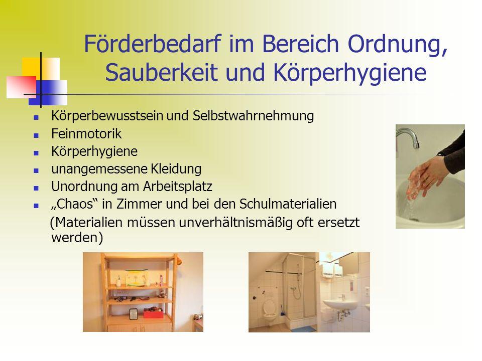 Förderbedarf im Bereich Ordnung, Sauberkeit und Körperhygiene