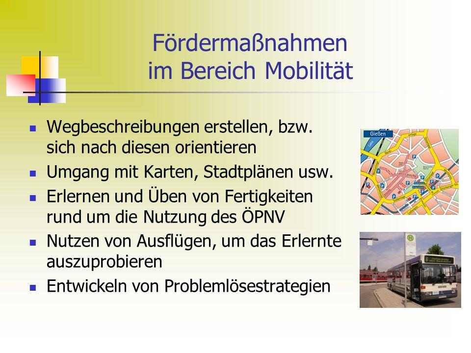 Fördermaßnahmen im Bereich Mobilität