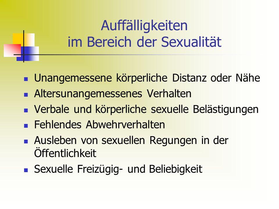 Auffälligkeiten im Bereich der Sexualität