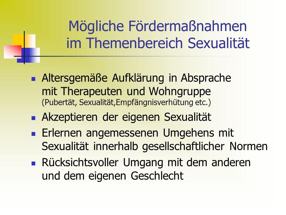 Mögliche Fördermaßnahmen im Themenbereich Sexualität