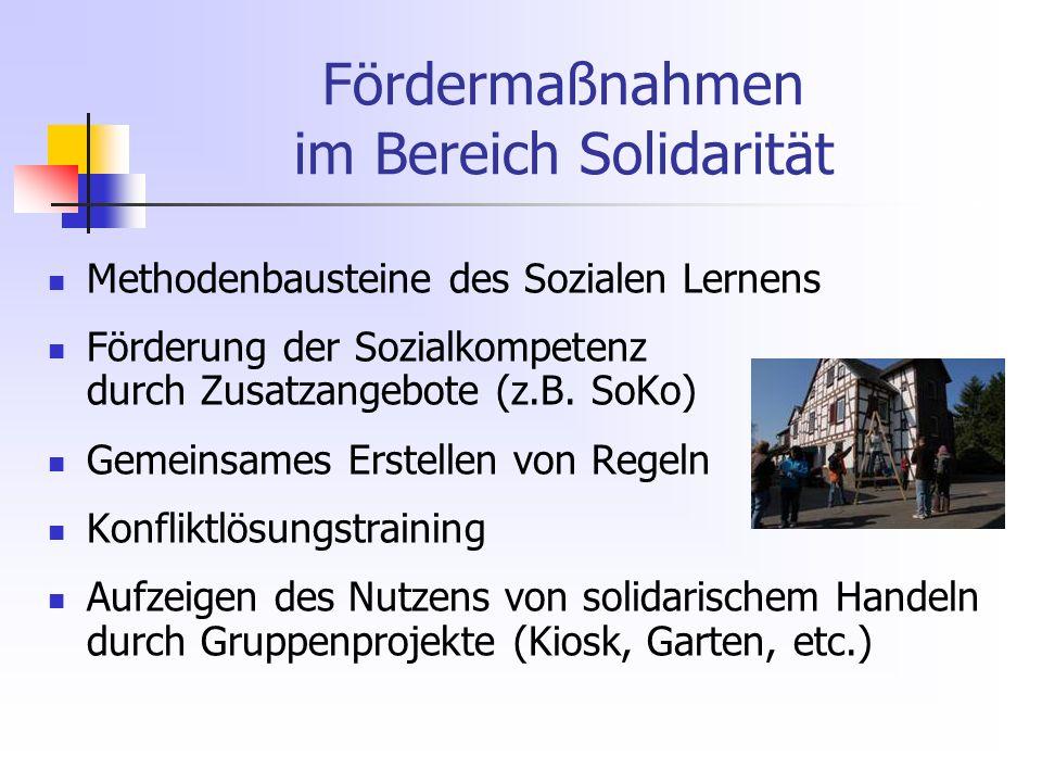Fördermaßnahmen im Bereich Solidarität