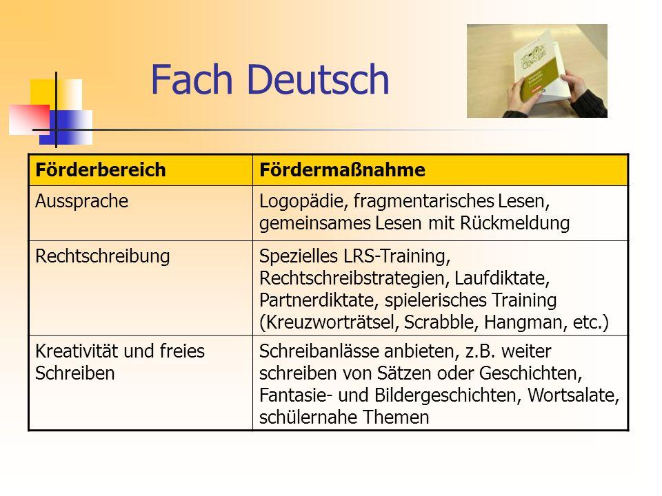 Fach Deutsch Förderbereich Fördermaßnahme Aussprache