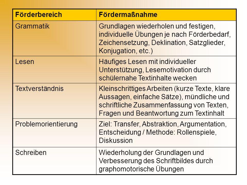 Förderbereich Fördermaßnahme. Grammatik.