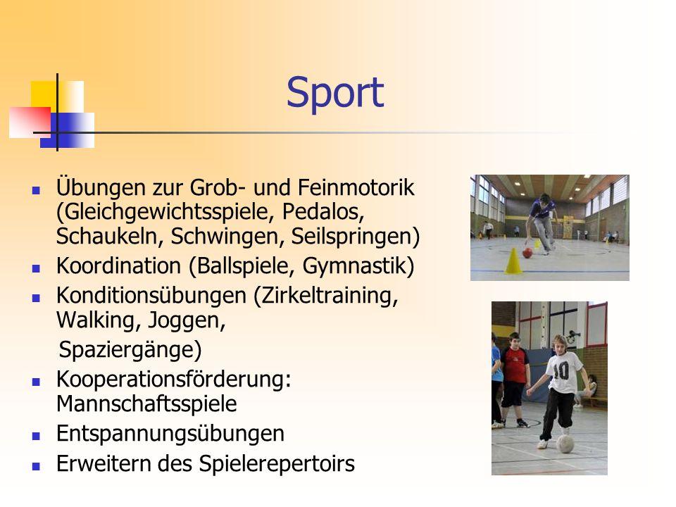 Sport Übungen zur Grob- und Feinmotorik (Gleichgewichtsspiele, Pedalos, Schaukeln, Schwingen, Seilspringen)