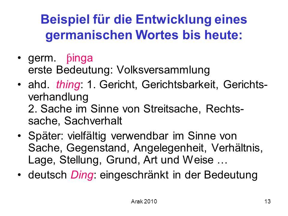 Beispiel für die Entwicklung eines germanischen Wortes bis heute: