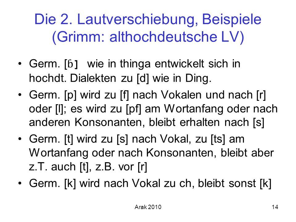 Die 2. Lautverschiebung, Beispiele (Grimm: althochdeutsche LV)