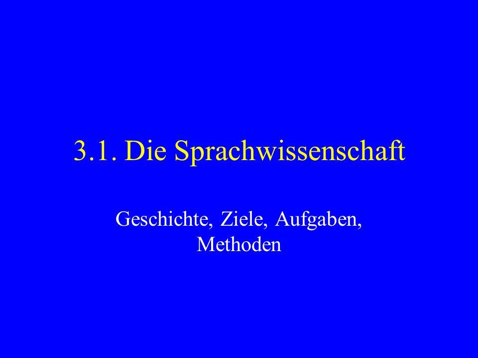 3.1. Die Sprachwissenschaft