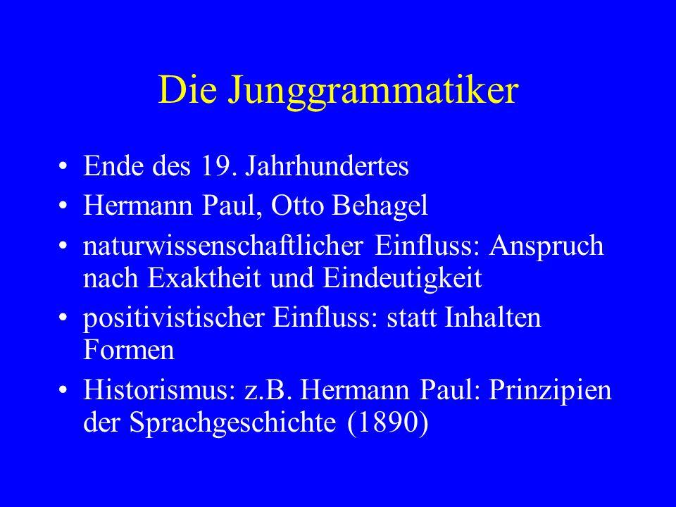Die Junggrammatiker Ende des 19. Jahrhundertes