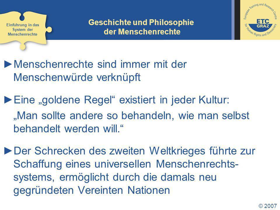 Geschichte und Philosophie der Menschenrechte