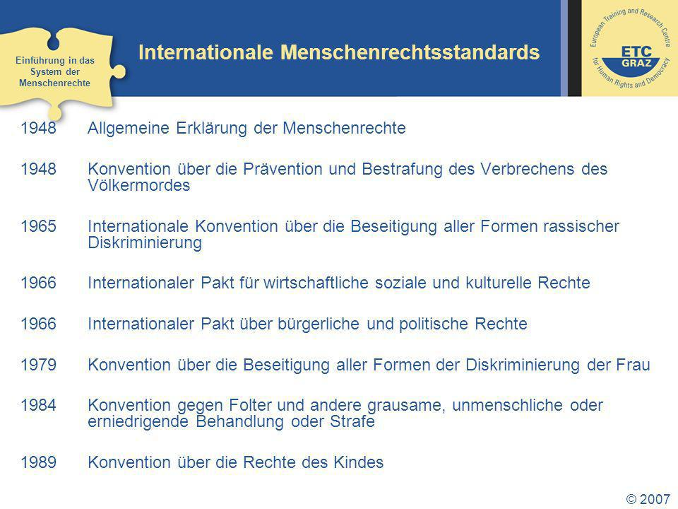 Internationale Menschenrechtsstandards