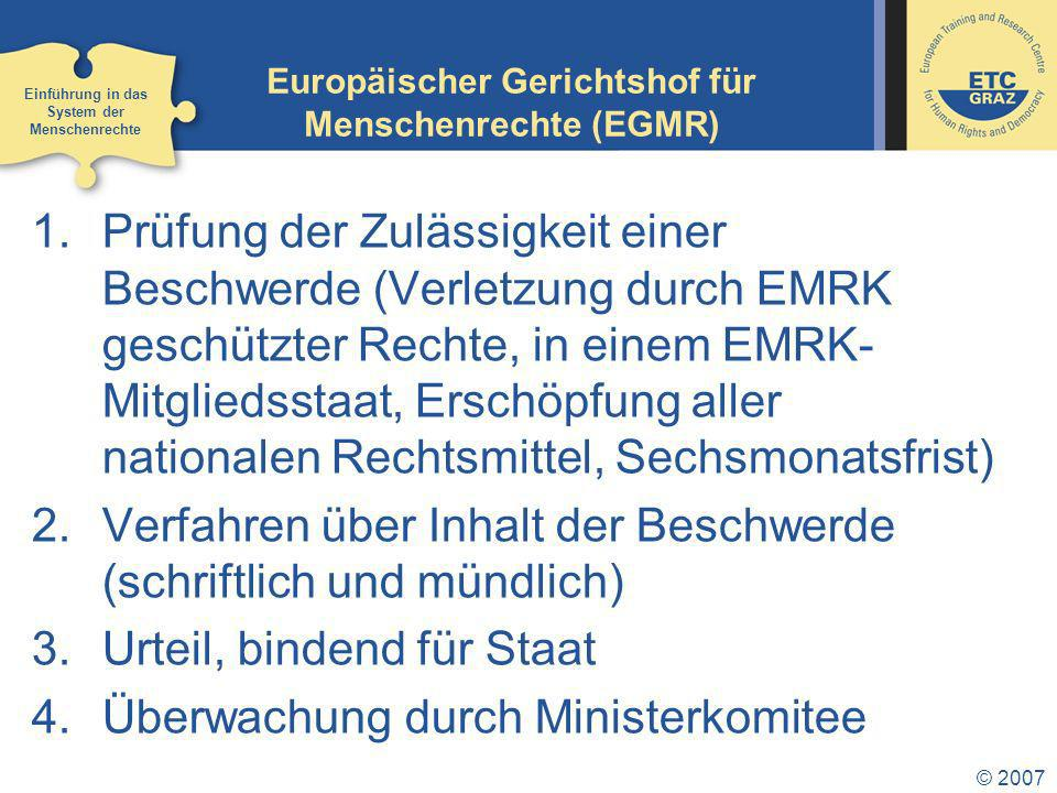 Europäischer Gerichtshof für Menschenrechte (EGMR)