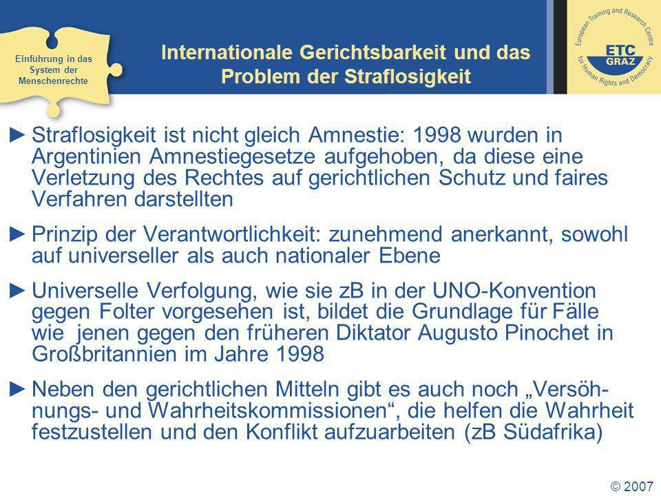 Internationale Gerichtsbarkeit und das Problem der Straflosigkeit