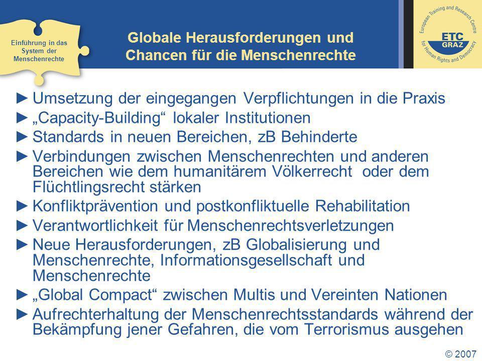 Globale Herausforderungen und Chancen für die Menschenrechte