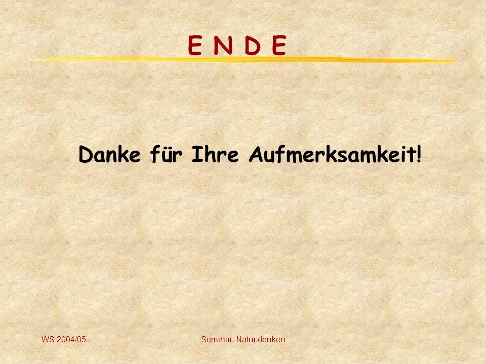 E N D E Danke für Ihre Aufmerksamkeit! WS 2004/05