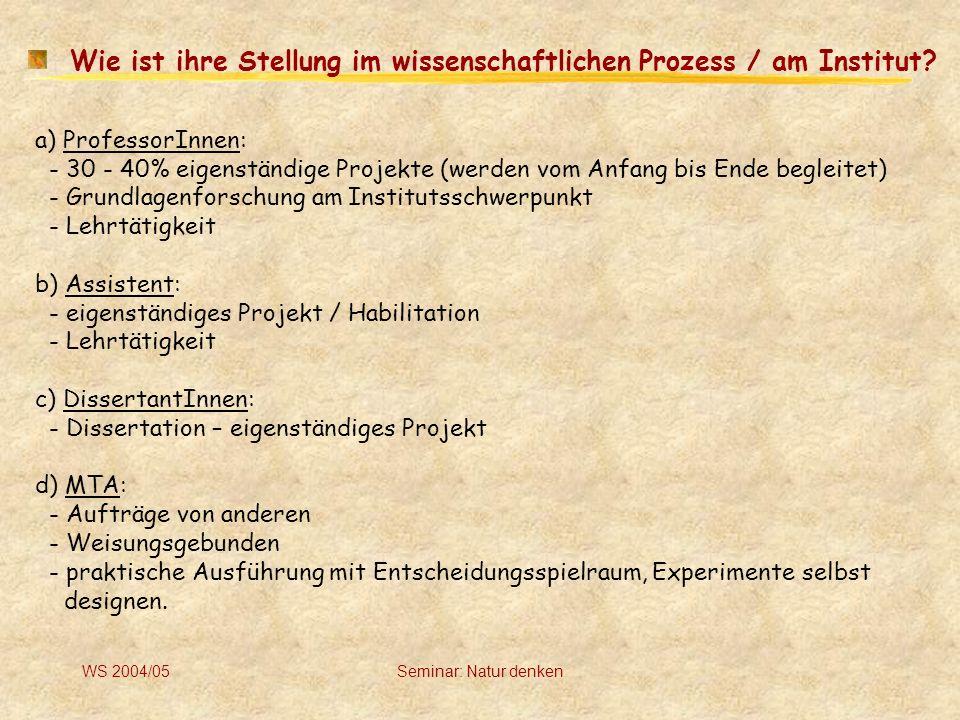 Wie ist ihre Stellung im wissenschaftlichen Prozess / am Institut