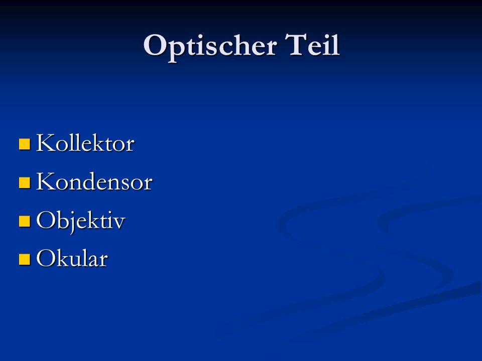 Optischer Teil Kollektor Kondensor Objektiv Okular