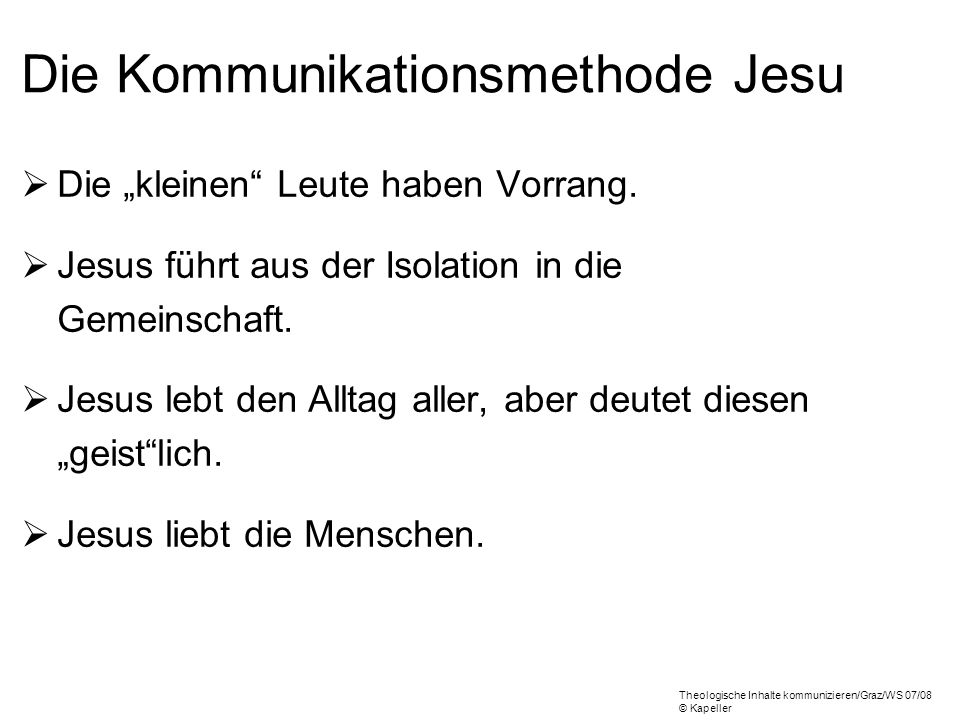 Die Kommunikationsmethode Jesu
