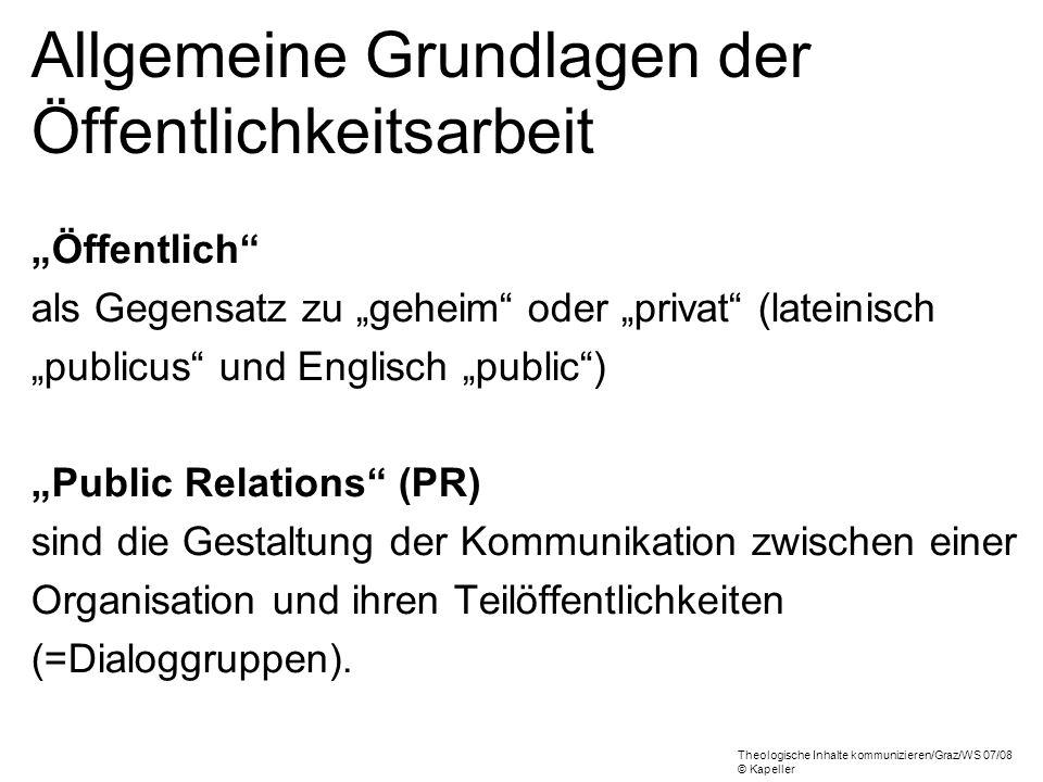 Allgemeine Grundlagen der Öffentlichkeitsarbeit