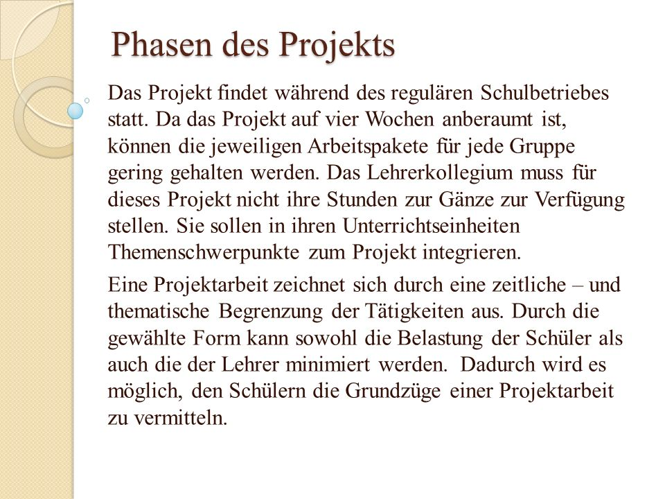 Phasen des Projekts