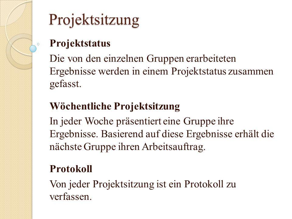 Projektsitzung Projektstatus