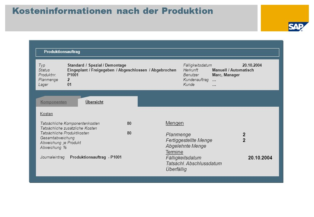 Kosteninformationen nach der Produktion