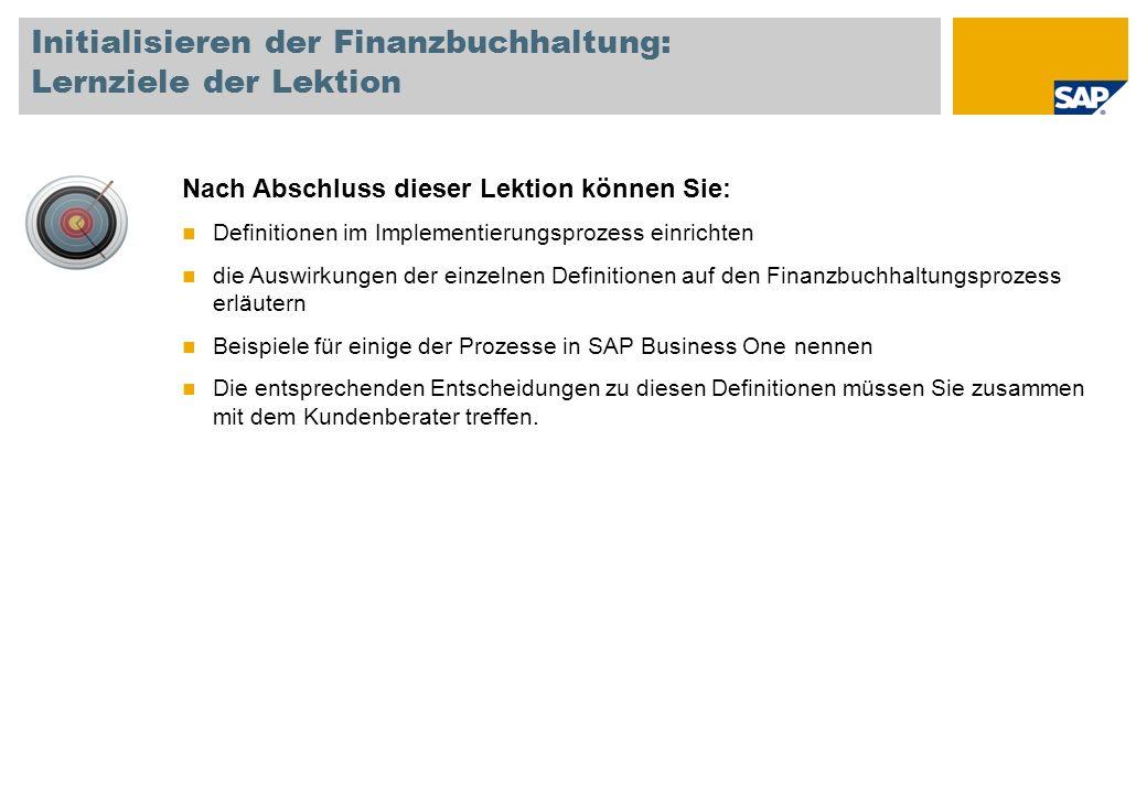 Initialisieren der Finanzbuchhaltung: Lernziele der Lektion