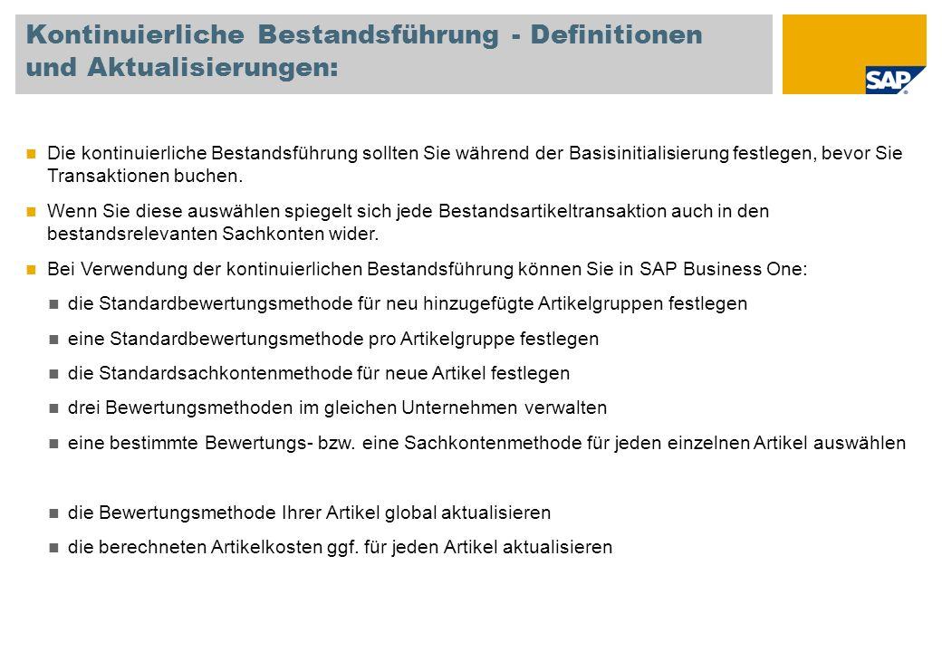 Kontinuierliche Bestandsführung - Definitionen und Aktualisierungen: