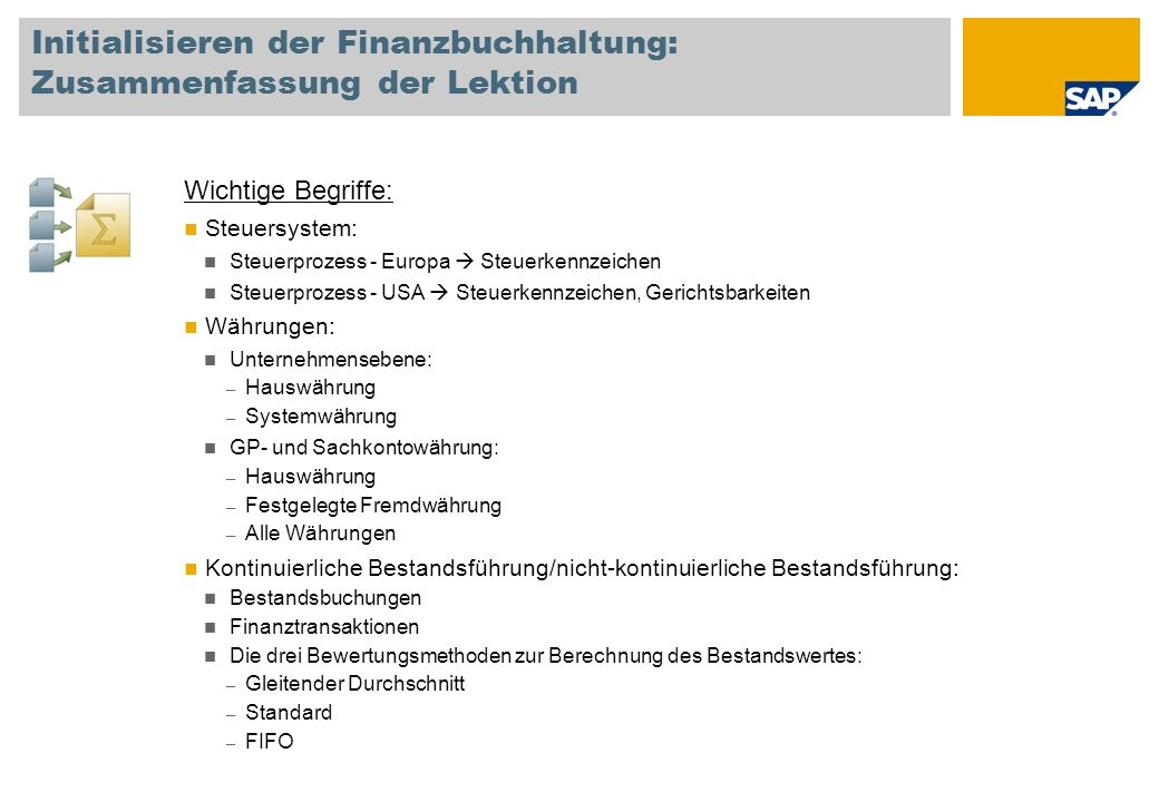Initialisieren der Finanzbuchhaltung: Zusammenfassung der Lektion