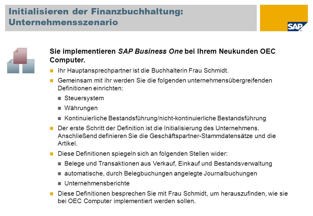 Initialisieren der Finanzbuchhaltung: Unternehmensszenario