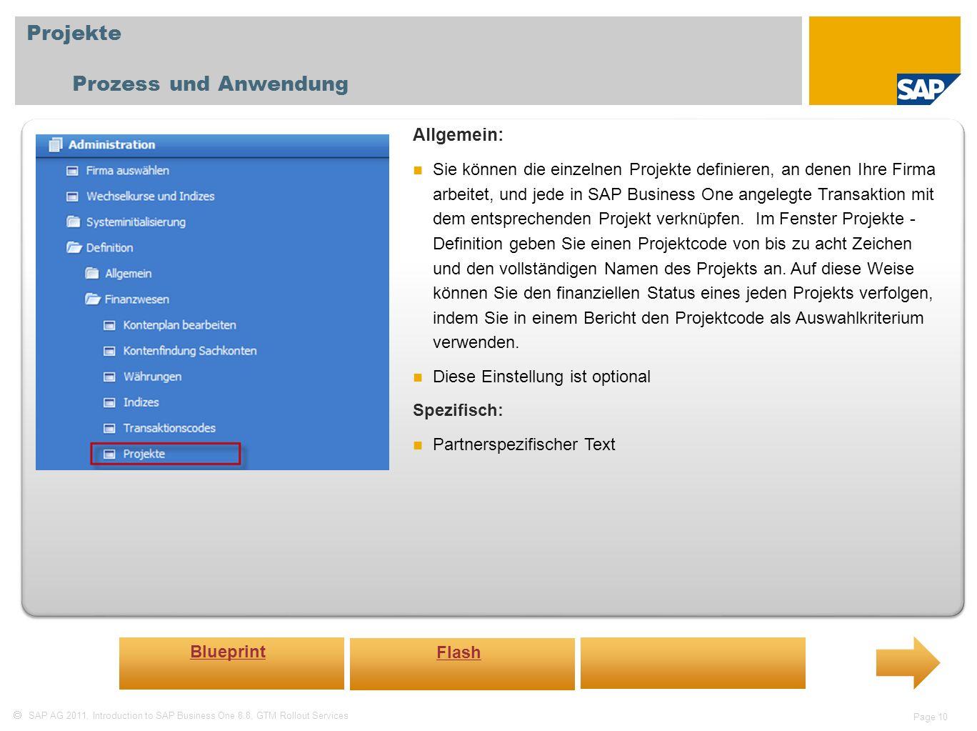 Projekte Prozess und Anwendung Allgemein: