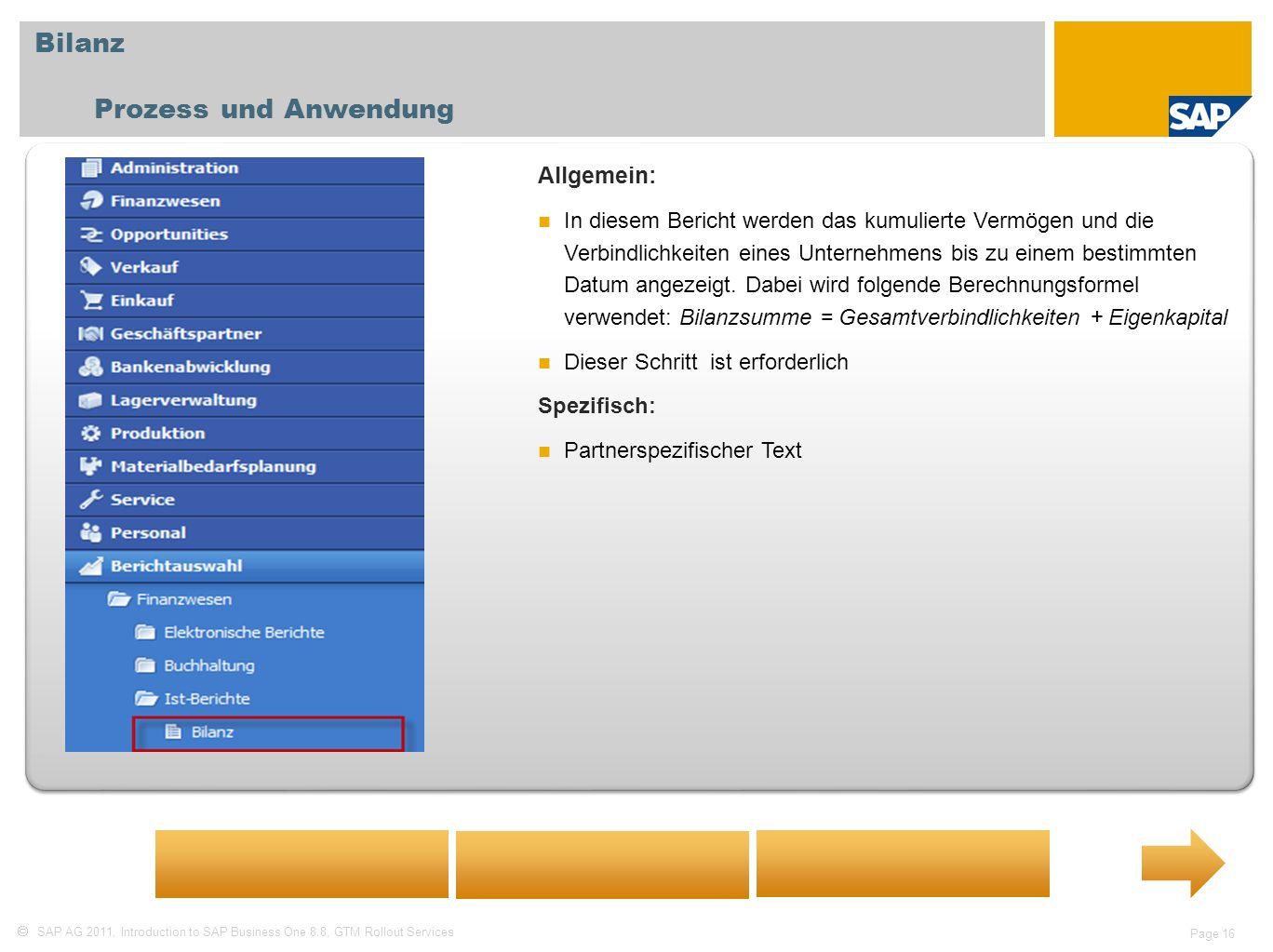 Bilanz Prozess und Anwendung Allgemein: