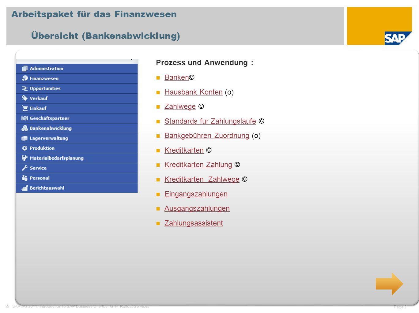 Arbeitspaket für das Finanzwesen Übersicht (Bankenabwicklung)