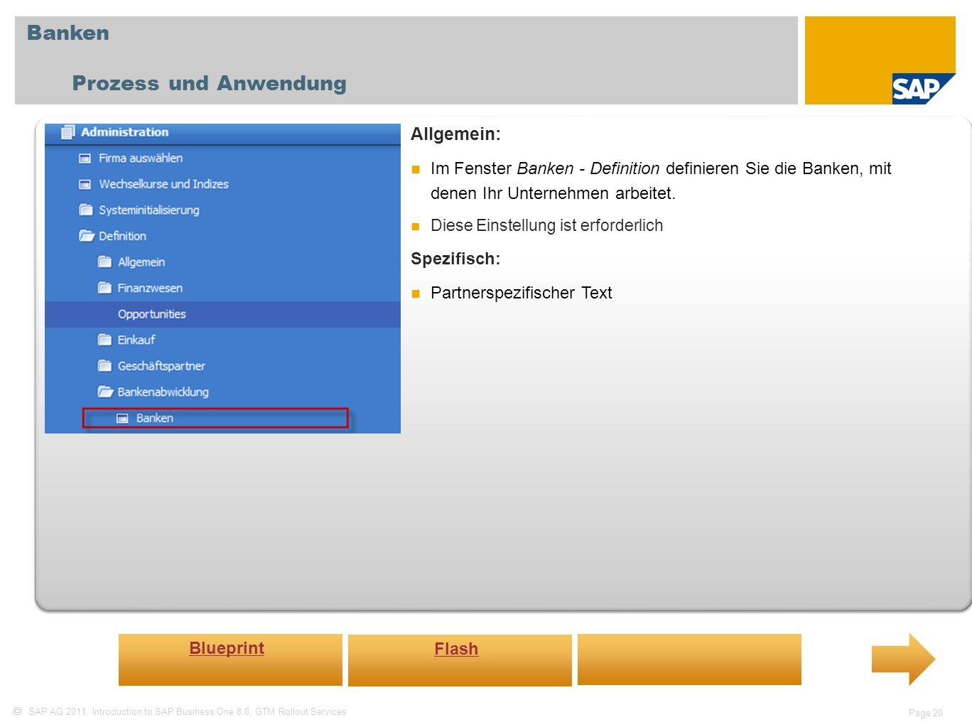 Banken Prozess und Anwendung Allgemein: