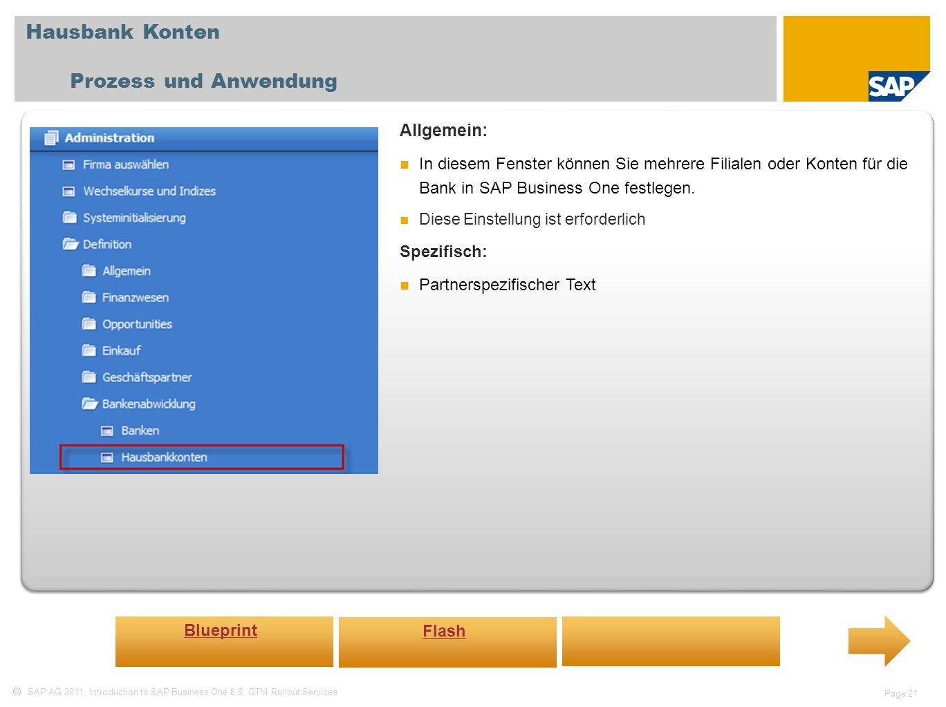 Hausbank Konten Prozess und Anwendung Allgemein: