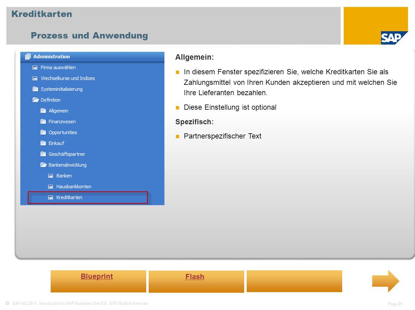Kreditkarten Prozess und Anwendung Allgemein: