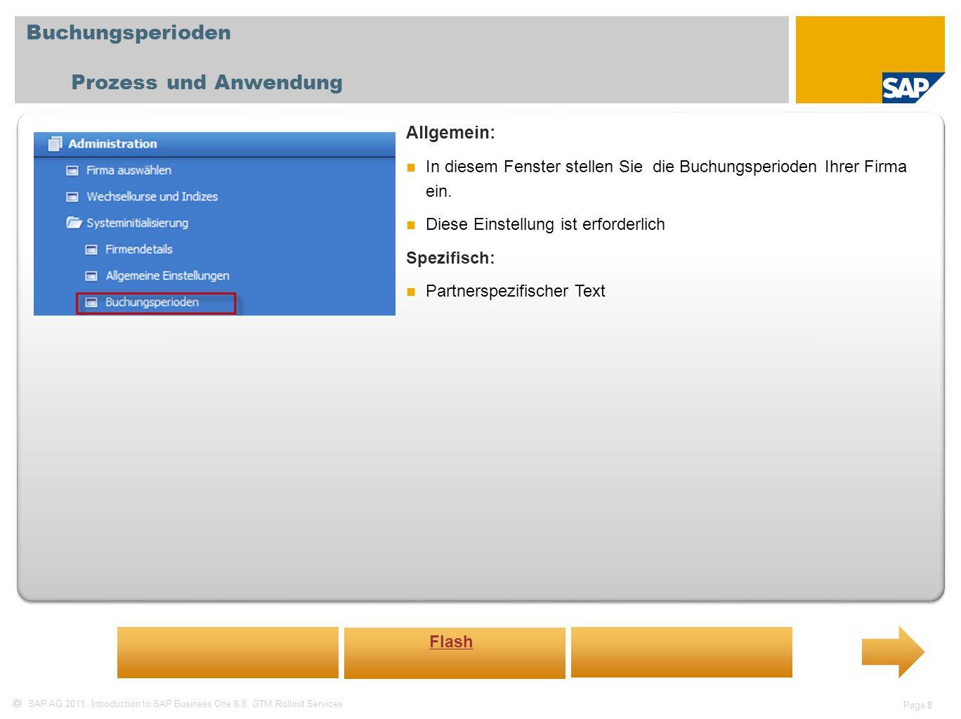 Buchungsperioden Prozess und Anwendung Allgemein: