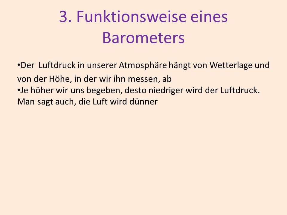 3. Funktionsweise eines Barometers