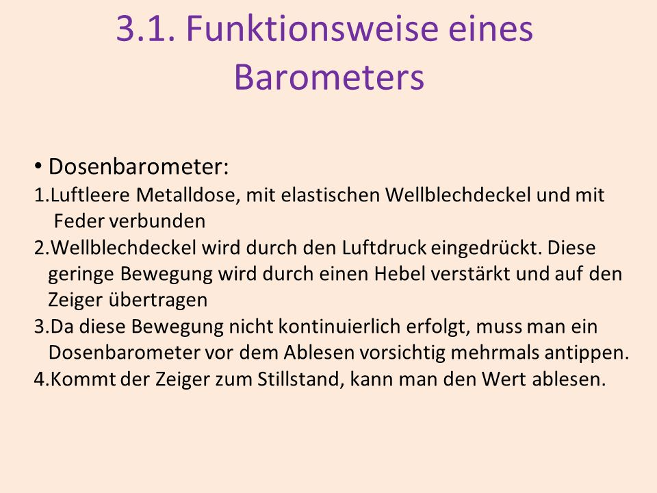 3.1. Funktionsweise eines Barometers