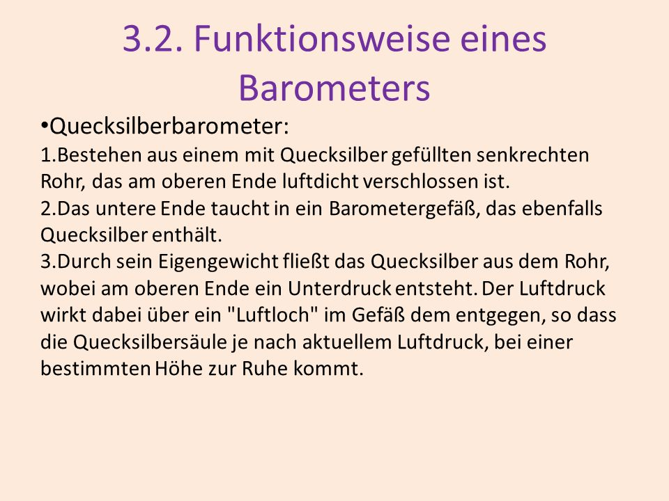 3.2. Funktionsweise eines Barometers
