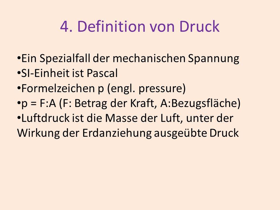 4. Definition von Druck Ein Spezialfall der mechanischen Spannung