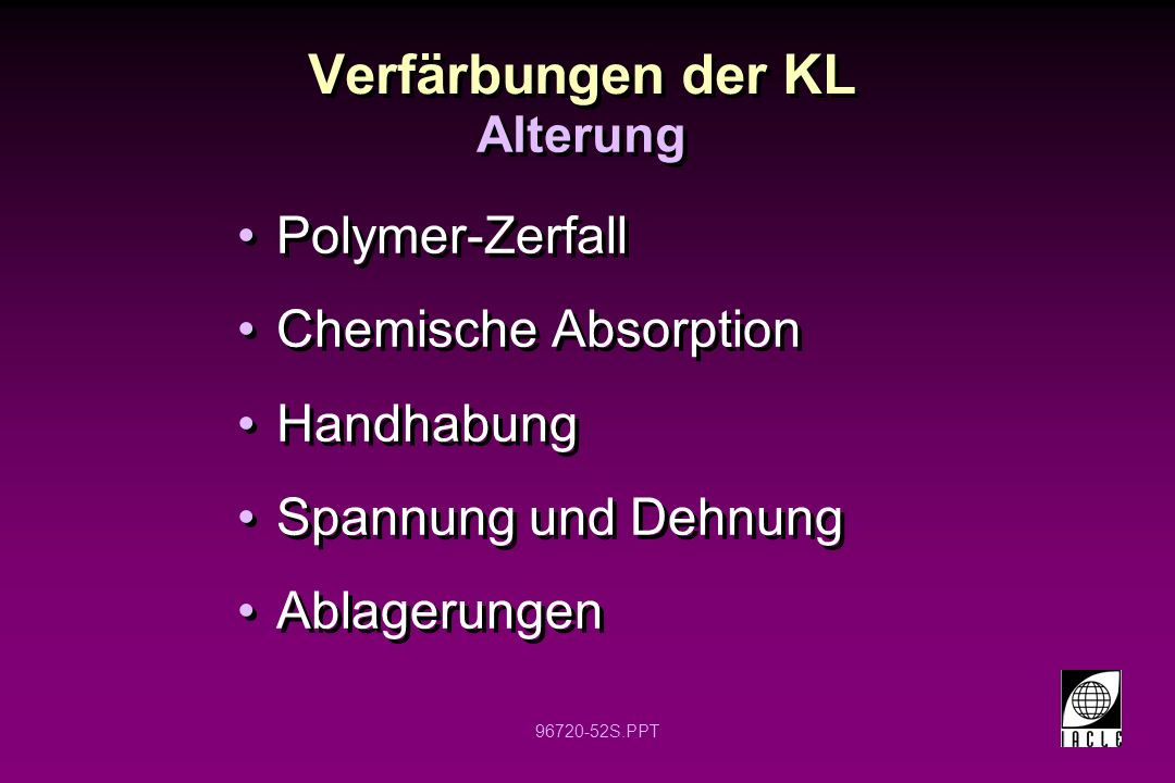 Verfärbungen der KL Polymer-Zerfall Chemische Absorption Handhabung
