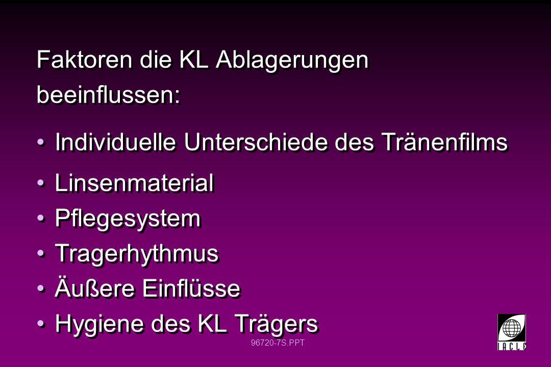 Faktoren die KL Ablagerungen beeinflussen: