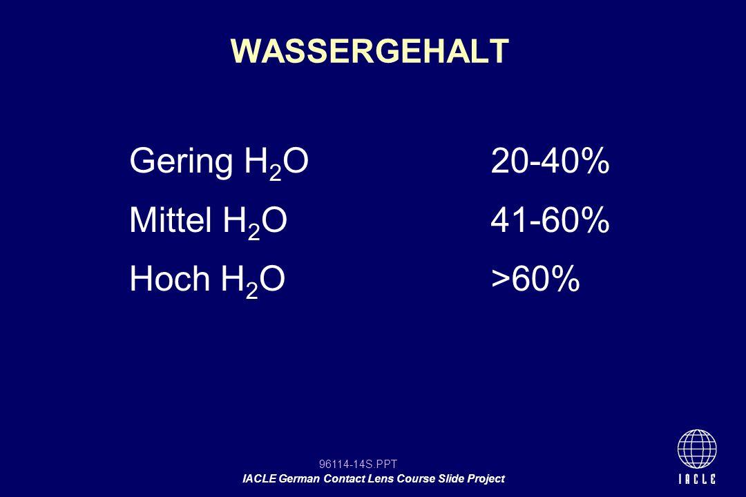 Gering H2O 20-40% Mittel H2O 41-60% Hoch H2O >60% WASSERGEHALT 12