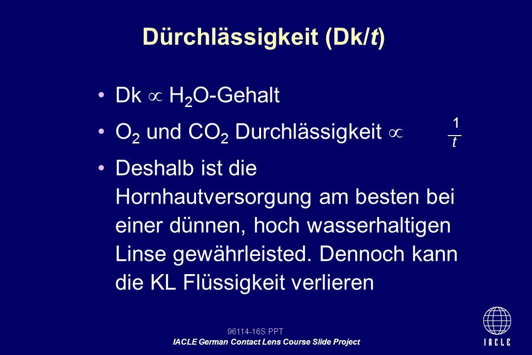 Dürchlässigkeit (Dk/t)