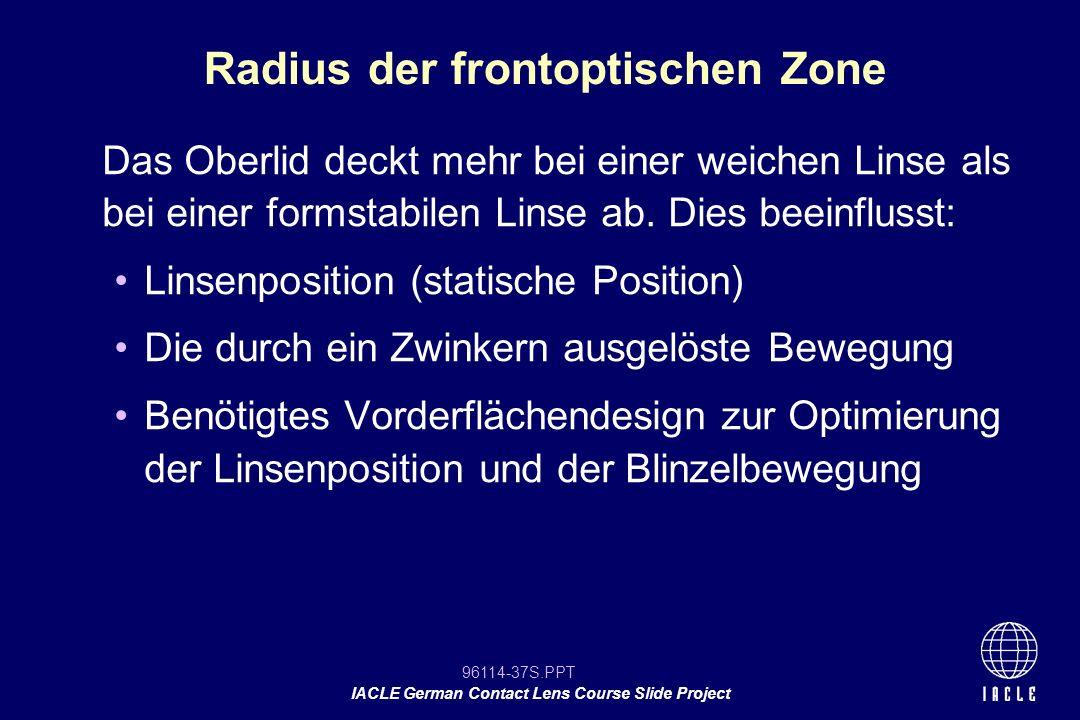 Radius der frontoptischen Zone
