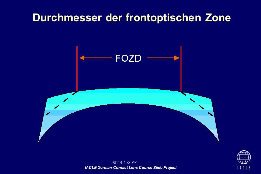 Durchmesser der frontoptischen Zone