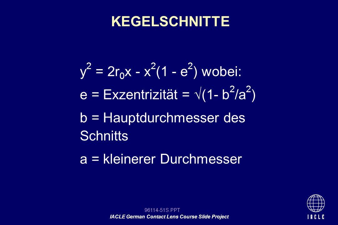 KEGELSCHNITTE y2 = 2r0x - x2(1 - e2) wobei: