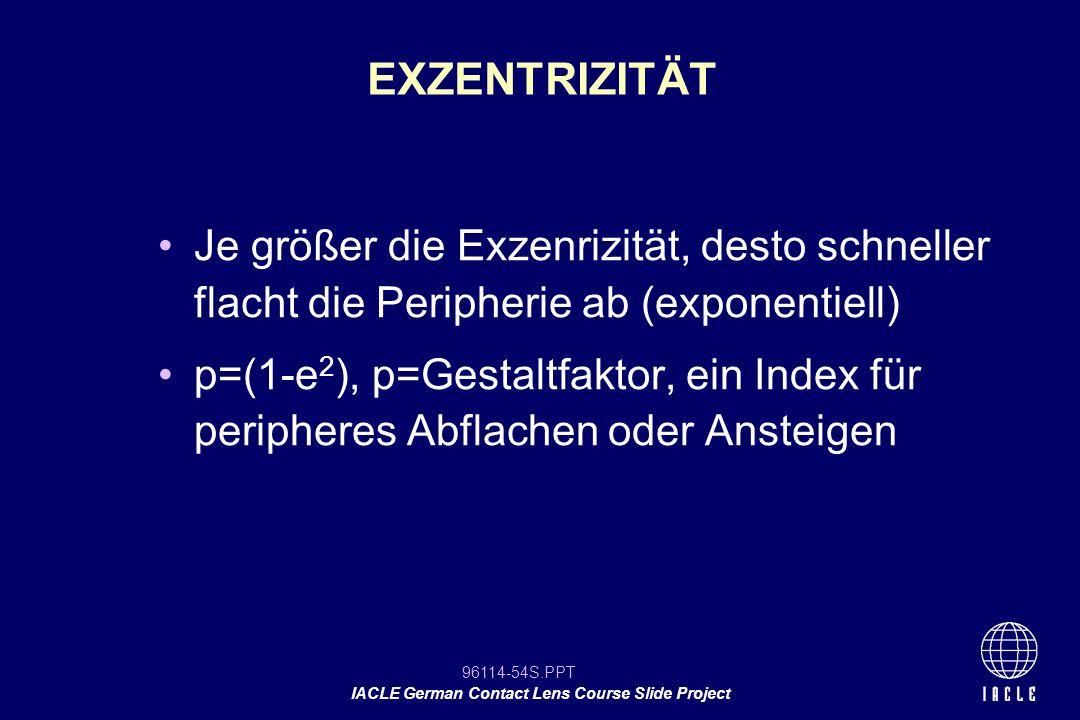 EXZENTRIZITÄT Je größer die Exzenrizität, desto schneller flacht die Peripherie ab (exponentiell)
